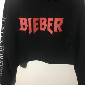 Justin Bieber tour merchandise crop top sweater